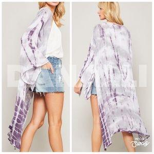 Purple tie-dye kimono